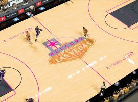 Conceptual art for a basketball game at T-Mobile Arena in Las Vegas. (Image: NBA2K)