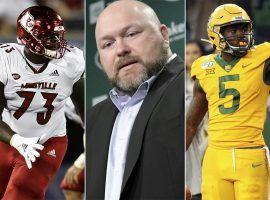 Louisville OT Mekhi Becton (Left), NY Jets GM Joe Douglas (center), and Baylor WR Denzel Mims (right). (Images: AP)