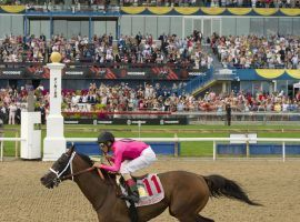 Wonder Gadot beat the boys to win the 2018 Queen's Plate, the oldest continuously run stakes race in North America. It moves to September this year due to the coronavirus. (Image: Woodbine Entertainment)