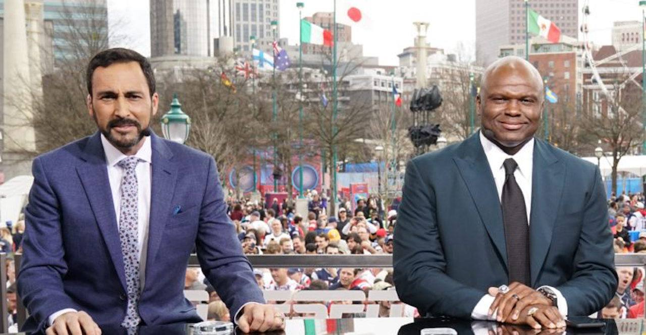 Monday Night Football announcers Joe Tessitore, Booger McFarland