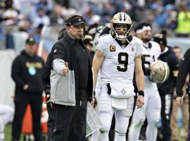 New Orleans Saints coach Sean Payton and QB Drew Brees on the sideline of a 2019 game. (Image: Wesley Hitt/Getty)
