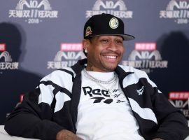 Allen Iverson receives interview during rehearsal for 2018 Double 11 Global Shopping Festival on November 10, 2018 in Shanghai, China. (Image: Getty)