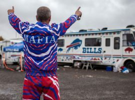 A fan of the Buffalo Bills (aka Bills Mafia) preparties in the parking lot outside of New Era Field in Orchard Park, NY. (Image: Michael F. McElroy/ESPN)
