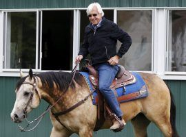 Bob Baffert usually rides high in the saddle at the Santa Anita Derby. He's going for his 10th victory in the premier West Coast Kentucky Derby prep. (Image: Shannon Stapleton/Reuters)