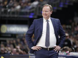 Mike Budenholzer, head coach of the Milwaukee Bucks, during a game at Fiserv Arena. (Image: Michael Conroy/AP).