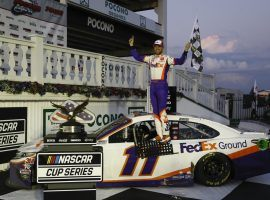 Denny Hamlin won the Pocono 350 on Sunday ahead of Kevin Harvick, reversing their one-two finish in Saturday's race at the same track. (Image: Matt Slocum/AP)