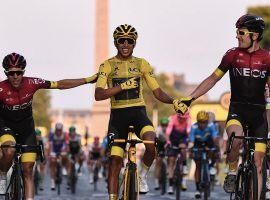 Egan Bernal (center) flanked by his Ineos teammates on the way to the finish line at the final stage of the 2019 Tour de France in Paris. (Image: Anne-Christine Poujoulat/AFP)