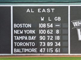 The scoreboard embedded in the Green Monster at Fenway Park in Boston, Massachusetts. (Image: Marco Esquondoles/Boston Globe)