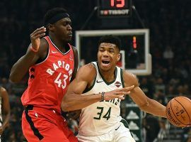 "Toronto Raptors PF Pascal Siakam defends Giannis ""Greek Freek"" Antetokounmpo of the Milwaukee Bucks. (Image: Stacy Revere/Getty)"