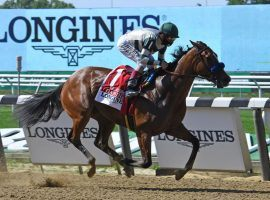 John Velasquez and Gamine practiced social distancing in last Saturday's Acorn Stakes. The standout filly could run against the boys in the Preakness Staeks in October. (Image: Coglianese Photos)