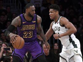 LA Lakers star LeBron James defended by Giannis 'Greek Freak' Antetokounmpo of the Milwaukee Bucks. (Image: Kevork Djansezian/Getty)