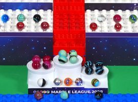 The medal ceremony for Marble League 2020 E1 at the Andromedome in Polaria. (Image: YouTube)