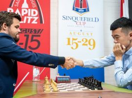 Magnus Carlsen (left) will take on Ding Liren (right) in the semifinals of the Chessable Masters. (Image: Lennart Ootes/Grand Chess Tour)