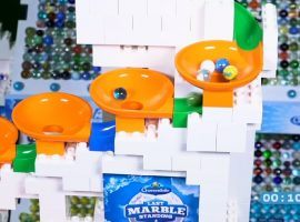 Six teams competing in 2020 Last Marble Standing Event #1 Funnel Spin at the Craven Dome. (Image: YouTube)
