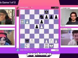 Voyboy defeated Boxbox to reach the Pogchamps championship final, where he'll take on Hutch for the $10,000 top prize. (Image: Chess.com/Twitch)