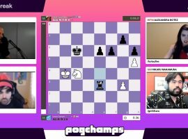 Voyboy defeated Hutch in a thrilling final to win the championship bracket of the Pogchamps chess tournament. (Image: Chess.com/Twitch)