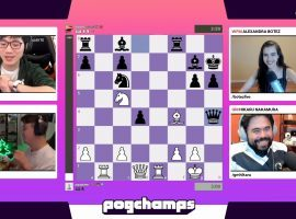 Pogchamps has reached its knockout stages, with the top eight players heading to the championship bracket beginning on Monday. (Image: Chess.com/Twitch)