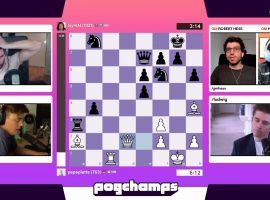 NymN grabbed the final Pogchamps championship semifinal spot by defeating Papaplatte 2-0 in their quarterfinal match. (Image: Chess.com/Twitch)