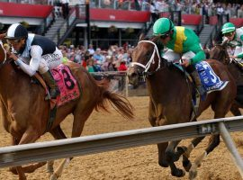 Point of Honor (left) showed off her closing skills in the Black Eyed Susan last year. She is the 2/1 second-favorite in Saturday's Grade 1 Ogden Phipps at Belmont Park. (Image: Lauren Helber/AP Photo)