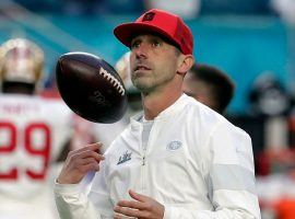 San Francisco 49ers head coach Kyle Shanahan during warm ups at NFL Super Bowl 54 in Miami, FL. (Image: Matt York/AP)