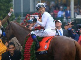 Mike Smith, who rode Bob Baffert's Justify to the 2018 Triple Crown, once again has the confidence of the Hall of Fame trainer. Smith will ride Authentic in July's Haskell Invitational. (Image: Sean M. Haffey/Getty)