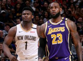 New Orleans Pelicans rookie Zion Williamson and Los Angeles Lakers star LeBron James during a game in New Orleans. (Image: Porter Lambert/Getty)