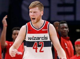 Washington Wizards forward Davis Bertans celebrates drilling a 3-pointer at Capitol One Arena in Washington, DC. (Image: Davis Bertans)