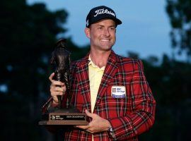 Webb Simpson, who will be at the PGA Championship in August, won the RBC Heritage on Sunday at Harbour Town Golf Links and paid off at 25/1. (Image: AP)