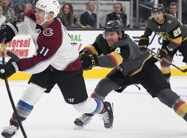 Colorado Avs Matt Calvert (11) scores against the Vegas Golden Knights during a preseason game in Las Vegas in 2019. (Image: Ethan Miller/Getty)