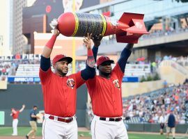 Nelson Cruz (left) Miguel Sano from Minnesota Twins presented with an award by local authorities for leading the MLB in home runs in 2019. (Image: Hannah Foslien/Getty)