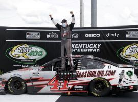 Rookie driver Cole Custer won his first NASCAR Cup Series race on Sunday at Kentucky Speedway. (Image: Mark Humphrey/AP)