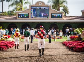 Del Mar was forced to close this weekend after 15 jockeys tested positive for COVID-19. The track is revamping its jockeys' room and instituting a travel ban on riders. (Image: Del Mar Thoroughbred Club)