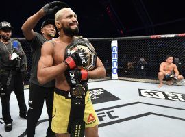 Deiveson Figueiredo submitted Joseph Benavidez in the first round on Saturday to win the UFC flyweight title. (Image: Jeff Bottari/Zuffa/Getty)