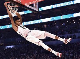 Giannis 'Greek Freak' Antetokounmpo from the Milwaukee Bucks dunks at the 2019 All-Star Game. (Image: Jeff Siner/Getty)