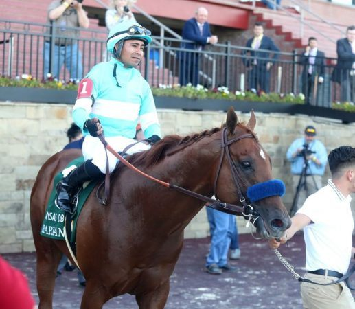 Like Charlatan, the horse Martin Garcia rode to victory in May's Arkansas Derby, Garcia is now on the shelf. He tested positive for the coronavirus and is quarantined for 14 days. (Image: Richard Rasmussen/Hot Springs Sentinel-Record)