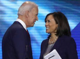 Kamala Harris (right) remains the favorite to take the Biden VP role, but Karen Bass and others are climbing into contention. (Image: Getty)