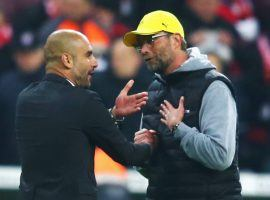 Pep Guardiola (left) and Jurgen Klopp (right) offered up very different opinions on Man City's successful appeal of its European ban. (Image: Alex Grimm/Diario AS)