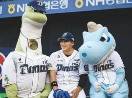Starting pitcher Koo Chang-Mo, has yet to lose a game for the first-place NC Dinos in the KBO. (Image: Daniel Greiss/Twitter)