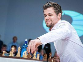 Magnus Carlsen defeated Anish Giri in straight sets to win the Chessable Masters final. (Image: Lennart Ootes/FIDE)