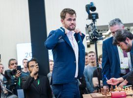 Magnus Carlsen dominated the round-robin portion of the Legends of Chess online tournament, winning all nine of his matches. (Image: Lennart Ootes/FIDE)