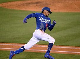 LA Dodgers CF Mookie Betts during a Spring Training game. (Image: Harry How/Getty)