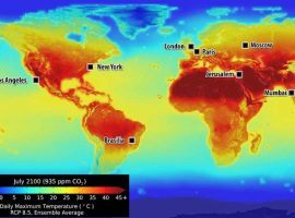 This NASA map illustrates how temperature and rainfall patterns will change around the world by 2100. While the Earth heats up, MyBookie created a market to play global warming. (Image: NASA)