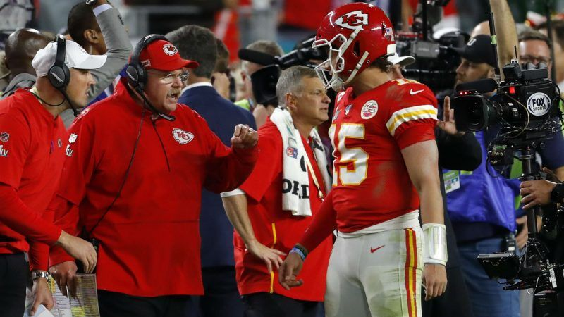 Kansas City head coach Andy Reid and QB Patrick Mahomes chat on sidelines at Arrowhead Stadium . (Image: Louis Daniel/Getty)