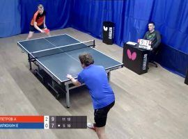 Bettors turned to table tennis matches like this one, part of Russia's Moscow Liga Pro, as gambling options during the coronavirus pandemic. (Image: Screen capture/Las Vegas Review-Journal)