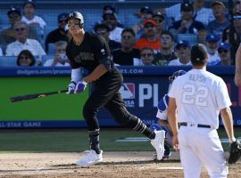 NY Yankees slugger Aaron Judge takes LA Dodgers pitcher Clayton Kershaw deep for a homer in Dodger Stadium in 2019. (Image: AP)