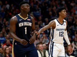 Pelicans big man Zion Williamson and Grizzlies point guard Ja Morant are fighting for the #8 seed in the West. (Image: Sean Gardner/Getty)
