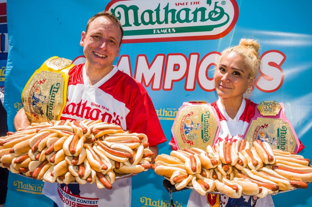 Joey Chestnut, Miki Sudo Nathan's Hot Dog eating contest