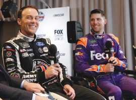 Kevin Harvick and Denny Hamlin are the two hottest drivers in NASCAR this season, but both are winless at the Quaker State 400. (Image: AP)