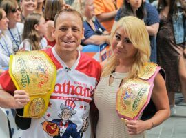 Joey Chestnut and Miki Sudo successfully defended their Nathan's Hot Dog Eating Contest titles, and set new world records. (Image: Getty)