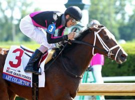 Jockey Brian Hernandez and Art Collector plan using the Ellis Park Derby as a tune-up for the Kentucky Derby. They are the 4/5 morning line favorite for the penultimate Kentucky Derby prep. (Image: Keeneland/Coady Photography)